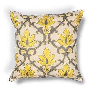 "Yellow-Grey Damask 18"" x 18"" Pillow"
