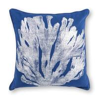 """Blue/Silver Coral 18"""" x 18"""" Pillow"""