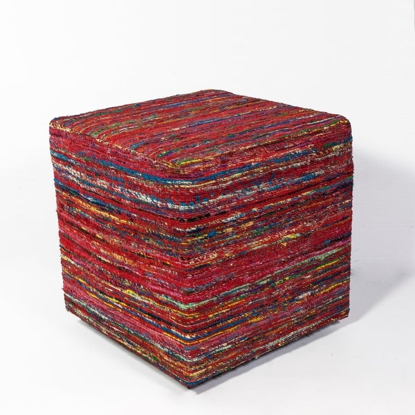 "Red Multi Viscose 18"" x 18"" x 18"" Pouf"