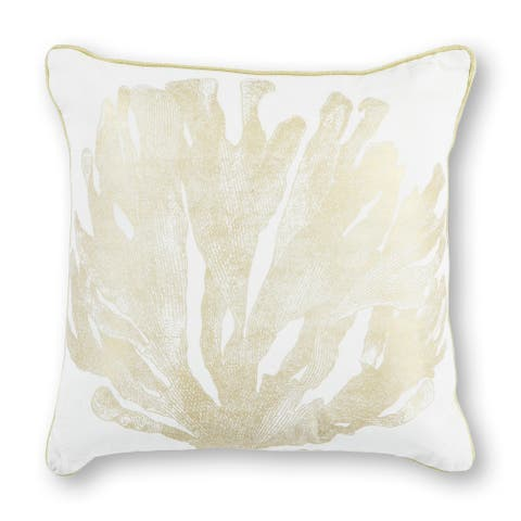 "Ivory/Gold Coral 18"" x 18"" Pillow"