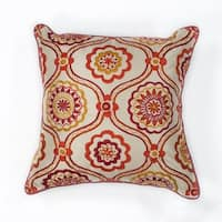 "Ivory/Red Mosaic 18"" x 18"" Pillow"