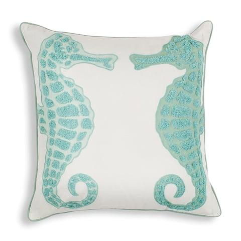 """Aqua Seahorse 18"""" x 18"""" Pillow"""