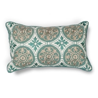 "Teal Medallions 12"" x 20"" Pillow"