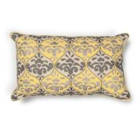 "Yellow/Grey Damask 12"" x 20"" Pillow"