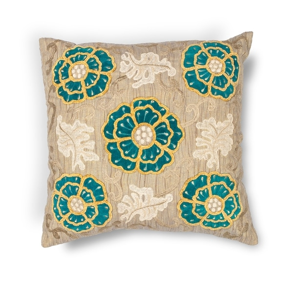 "Taupe-Teal Blooms 18"" x 18"" or 20"" x 20"" Pillow"