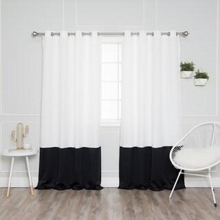 Aurora Home Grommet Colorblock Oxford Curtain Panel Pair