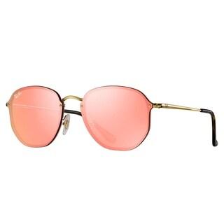 Ray-Ban RB3579N Blaze Hexagonal Sunglasses Gold/ Pink Mirror 58mm