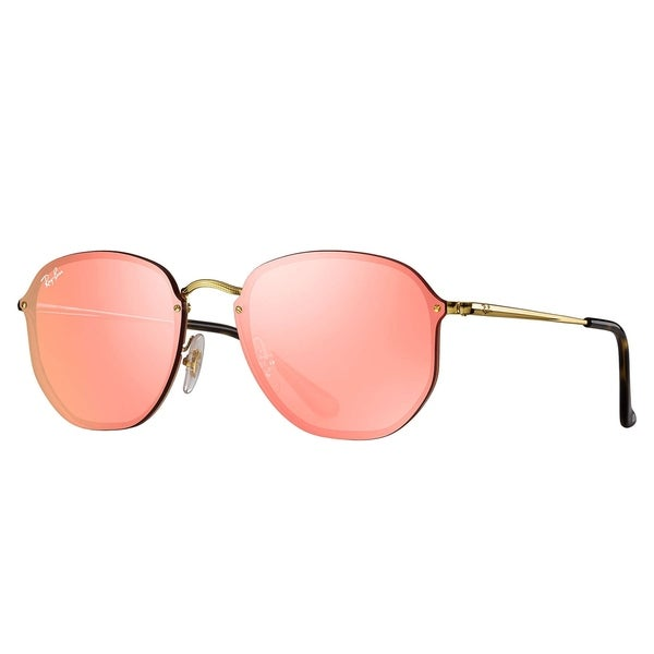 93c93bd92354f0 Shop Ray-Ban RB3579N Blaze Hexagonal Sunglasses Gold  Pink Mirror ...
