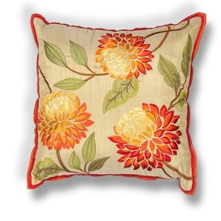 "Red Chrysanthemum 18"" x 18"" Pillow"