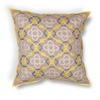 "Yellow-Grey Medallion 18"" x 18"" Pillow"