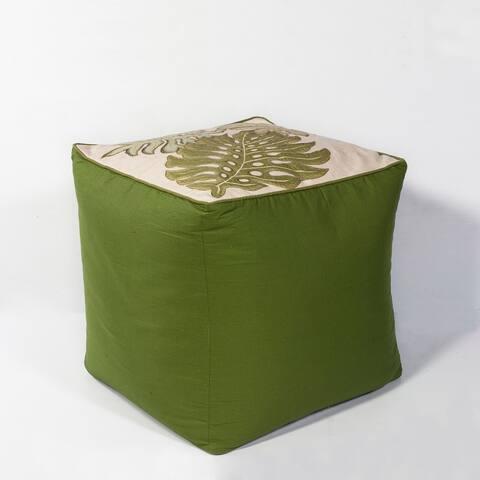 Tropical Green Botanical Cotton Pouf