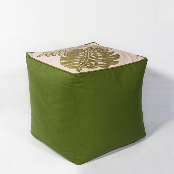 Tropical Green Botanical Cotton Pouf. Opens flyout.
