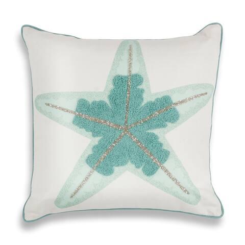 "Aqua Starfish 18"" x 18"" Pillow"