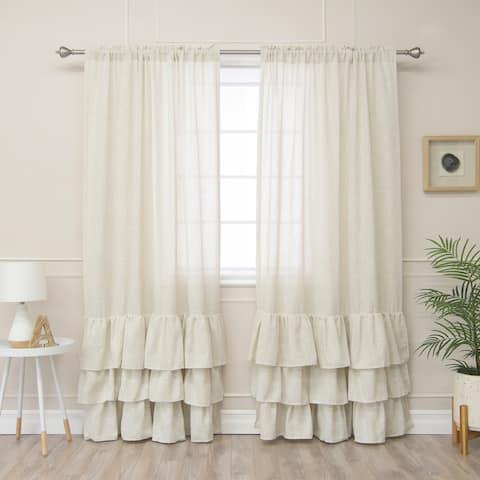 Aurora Home Linen Blend Ruffle Bottom Curtain Panel - 52 x 84