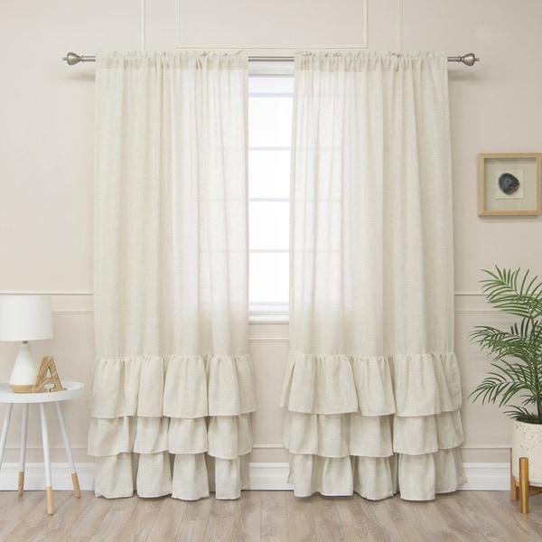 Aurora Home Linen Blend Ruffle Bottom Curtain Panel - 52 x 84. Opens flyout.