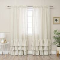 Aurora Home Linen Blend Ruffle Bottom Curtain Panel - 52 x 84