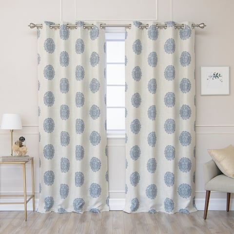 Aurora Home Linen Blend Medallion Print Blackout Lined Curtain Panel