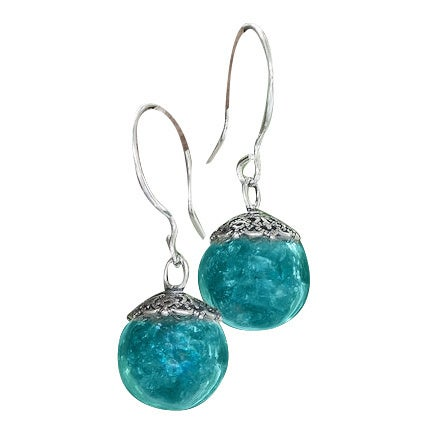 Handmade Recycled Vintage Mason Jar Sterling Silver and Glass Orb Earrings (United States)