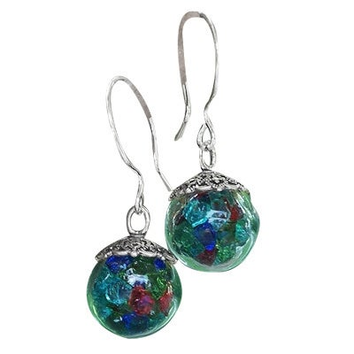 Handmade Recycled Vintage Bottle Multi Glass Glass Orb Earrings (United States)