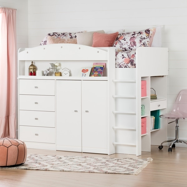 Shop South Shore Tiara White Twin Loft Bed With Desk Free Shipping