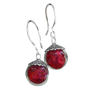 Recycled Reclaimed World War II Ruby Beer Bottle Glass and Sterling Silver Orb Earrings