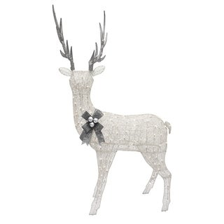 Puleo International 86 in. Standing White Lighted Standing Doe Yard Art