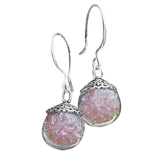 Recycled Antique Pink Depression Glass Orb Earrings
