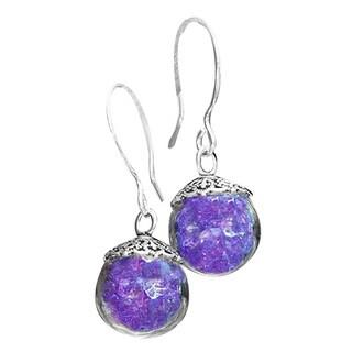 Handmade Recycled Vintage Purple Medicine Bottle Glass Orb Earrings (United States)