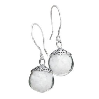 Handmade Recycled Vintage 1960's White Milk Glass Cold Cream Jar Glass and Sterling Silver Orb Earrings (United States)