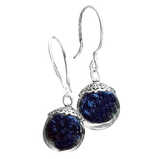 Recycled Reclaimed Antique Black Depression Glass and Sterling Silver Orb Earrings