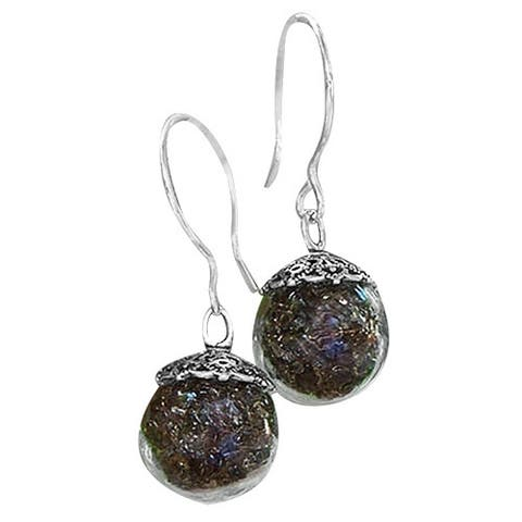 Handmade Recycled Reclaimed Vintage Amber Brown Bleach Jug Glass and Sterling Silver Orb Earrings (United States)