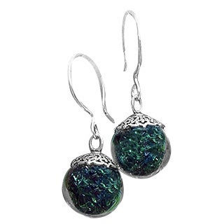 Handmade Recycled Reclaimed Early 1900's Olive Green Wine Bottle Glass and Sterling Silver Orb Earrings (United States)