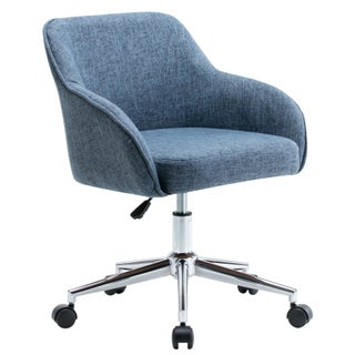 Porthos Home Upholstered Office Chair With Switch Footers&Casters Both (Option: Blue)