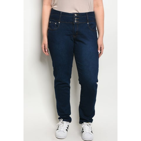 JED Women's Plus Size Dark Denim Jeans