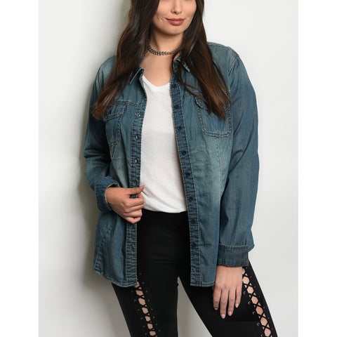 JED Women's Plus Size Washed Denim Button Down Overshirt