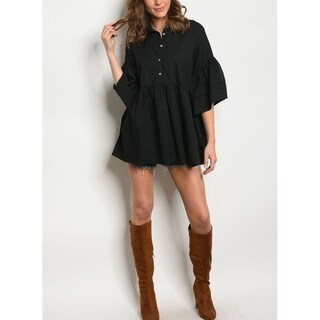 JED Women's Loose Fit Puff Sleeve Babydoll Top