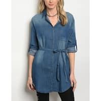 JED Women's Denim Button Down Tunic Shirt with Waist Tie