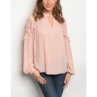 JED Women's Keyhole Neck Ruffle & Lace Long Sleeve Blouse