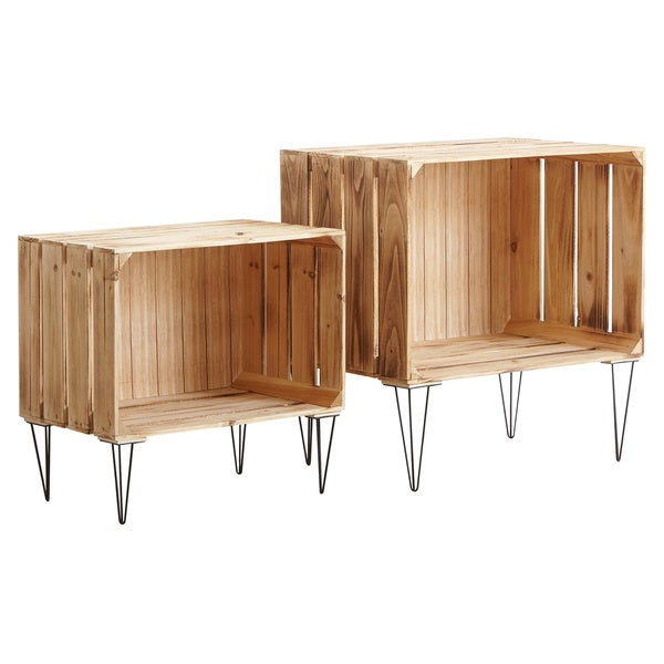 Nested Wooden Storage Crates, Set of 2