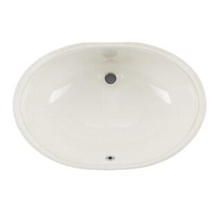 Undermount 19-1/4 in. Glazed Porcelain Oval Bathroom Sink in Biscuit