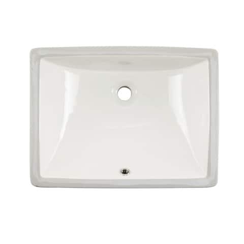 Undermount 20 in. Glazed Porcelain Trough Bathroom Sink in Biscuit