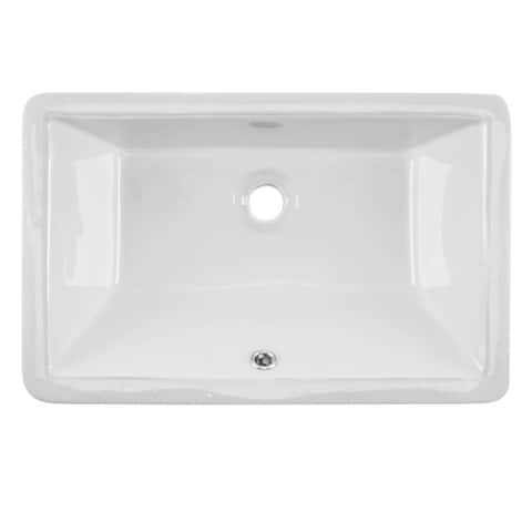 Undermount 21 in. Glazed Porcelain Trough Bathroom Sink in White