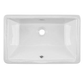 Undermount 21 in. Glazed Porcelain Trough Bathroom Sink in White