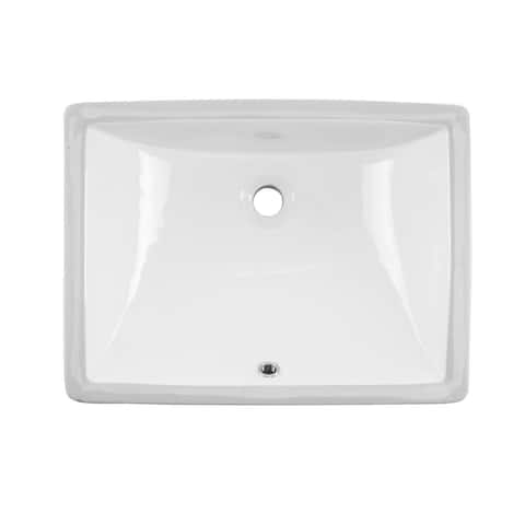 Undermount 20 in. Glazed Porcelain Trough Bathroom Sink in White