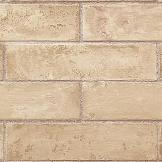 Manhattan Comfort Orland 32.7 Ft. x 20.5 In. Vinyl Tan Brick Texture Wallpaper Covering