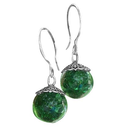 Handmade Recycled Reclaimed Vintage 1960's Emerald Green Beer Bottle Glass and Sterling Silver Orb Earrings (United States)