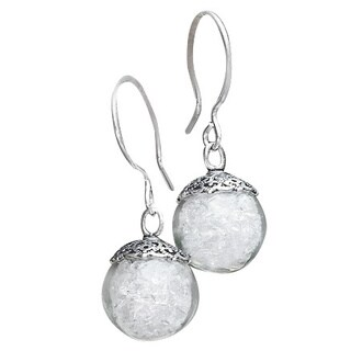 Handmade Recycled Reclaimed Vintage Milk Bottle Glass and Sterling Silver Orb Earrings (United States)