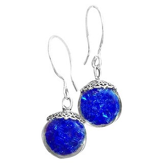 Recycled Vintage Cobalt Blue Face Cream Jar and Sterling Silver Glass Orb Earrings