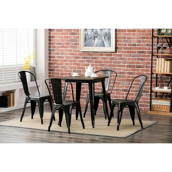 shop porthos home metal cafe chair for restaurant or home set of 4