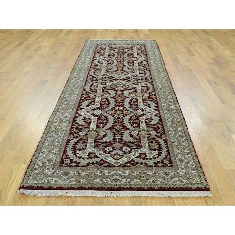 "Shahbanu Rugs New Zealand Wool Tabriz Design Oriental Wide Runner Rug - 3'4"" x 9'10"""